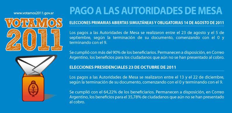 al Correo Argentino que informe sobre el pago a autoridades de mesa
