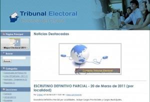 El sitio de la justicia electoral de Chubut