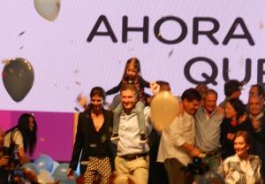 Mauricio Macri festejando en el Bunker Cambiemos